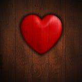 Καρδιά Grunge στο ξύλινο υπόβαθρο διανυσματική απεικόνιση