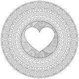 Καρδιά Mandala για την ημέρα βαλεντίνων διακοσμητικός κύκλος δ&i λευκό ράστερ προτύπων dpi πινάκων δυαδικών ψηφίων 600 ανασκόπηση Στοκ εικόνες με δικαίωμα ελεύθερης χρήσης