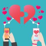 Καρδιά Smartphone Serch γρίφων τορνευτικών πριονιών έννοιας πεπρωμένου για την αγάπη Στοκ Εικόνα