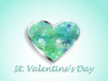 Καρδιά Watercolor σε ένα υπόβαθρο χρώματος Στοκ Εικόνες