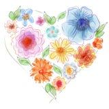 Καρδιά Watercolor των λουλουδιών Στοκ εικόνα με δικαίωμα ελεύθερης χρήσης