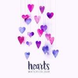Καρδιές αγάπης Watercolour στις σειρές Στοκ Φωτογραφίες