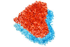 Καρδιές από τις κόκκινες και μπλε χάντρες στοκ φωτογραφίες με δικαίωμα ελεύθερης χρήσης