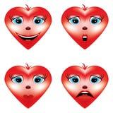 Καρδιές βαλεντίνων με τα εικονίδια συγκινήσεων ελεύθερη απεικόνιση δικαιώματος