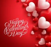 Καρδιές βαλεντίνων στο κόκκινο υπόβαθρο που επιπλέει με τους ευτυχείς χαιρετισμούς ημέρας βαλεντίνων Στοκ Εικόνες