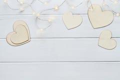 Καρδιές ημέρας βαλεντίνων με τα φω'τα νεράιδων Στοκ φωτογραφία με δικαίωμα ελεύθερης χρήσης