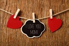 Καρδιές και κείμενο mom σ' αγαπώ Στοκ Εικόνες