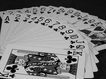 Καρδιές και τριφύλλια καρτών ενός παιχνιδιού καθορισμένες Στοκ Εικόνες
