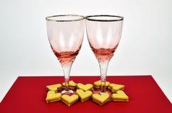 Καρδιές και δύο γυαλιά Στοκ Φωτογραφία