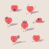 Καρδιές κινούμενων σχεδίων που τίθενται Στοκ εικόνα με δικαίωμα ελεύθερης χρήσης