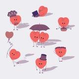 Καρδιές κινούμενων σχεδίων που τίθενται Στοκ Φωτογραφία