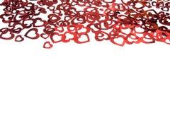 Καρδιές ματαιωμένες Λαμπρές καρδιές foil Κόκκινο πλαίσιο των καρδιών Του ST ημέρα βαλεντίνων ` s στοκ φωτογραφία με δικαίωμα ελεύθερης χρήσης