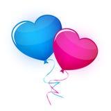 Καρδιές μπαλονιών στο άσπρο υπόβαθρο Στοκ Εικόνες