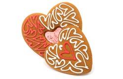 Καρδιές μπισκότων που απομονώνονται Στοκ Εικόνα