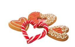 Καρδιές μπισκότων που απομονώνονται Στοκ Φωτογραφίες