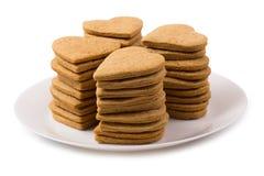 Καρδιές μπισκότων σε ένα πιάτο Στοκ Εικόνα