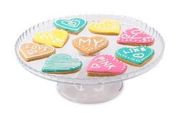 Καρδιές μπισκότων σε ένα πιάτο Στοκ Φωτογραφίες