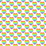 Καρδιές ουράνιων τόξων ως σχέδιο υποβάθρου (άνευ ραφής) 015 Στοκ Εικόνα