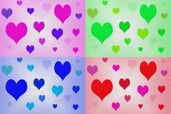 Καρδιές πέρα από το κατασκευασμένο υπόβαθρο Στοκ Εικόνες