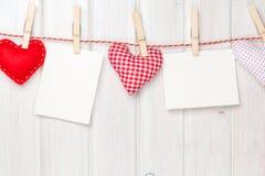 Καρδιές παιχνιδιών πλαισίων και βαλεντίνων φωτογραφιών Στοκ Εικόνα