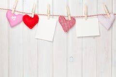 Καρδιές παιχνιδιών πλαισίων και βαλεντίνων φωτογραφιών Στοκ Εικόνες