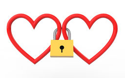 καρδιές που κλειδώνονται τρισδιάστατες μαζί με το λουκέτο Στοκ φωτογραφία με δικαίωμα ελεύθερης χρήσης