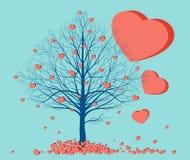 Καρδιές που πέφτουν από ένα δέντρο Στοκ Εικόνες
