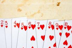Καρδιές που παίζουν τις κάρτες καθορισμένες Στοκ φωτογραφία με δικαίωμα ελεύθερης χρήσης
