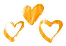 Καρδιές που σύρονται με το ελαιόχρωμα Στοκ Εικόνες