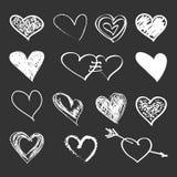 καρδιές που τίθενται δια συρμένο χέρι Στοκ φωτογραφία με δικαίωμα ελεύθερης χρήσης