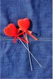 Καρδιές στα τζιν. Στοκ εικόνα με δικαίωμα ελεύθερης χρήσης