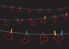 Καρδιές στη γραμμή στο σκοτάδι Στοκ φωτογραφία με δικαίωμα ελεύθερης χρήσης