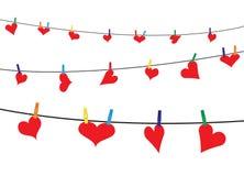 Καρδιές στη γραμμή Στοκ φωτογραφία με δικαίωμα ελεύθερης χρήσης