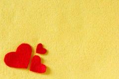 Καρδιές στη σύσταση υφάσματος Στοκ Εικόνα