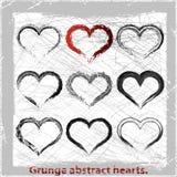 Καρδιές συνόλου grunge. Στοκ Εικόνες