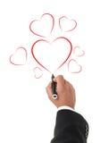 Καρδιές σχεδίων χεριών που απομονώνονται στο άσπρο υπόβαθρο. Στοκ Εικόνα