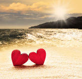 καρδιές δύο παραλιών Στοκ εικόνες με δικαίωμα ελεύθερης χρήσης