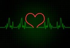 Καρδιακή συχνότητα στο πράσινο χρώμα με τη μορφή καρδιών Στοκ Εικόνες