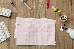 Καρδιογράφημα καρδιών με τη σύριγγα και τις ταμπλέτες Στοκ Φωτογραφία