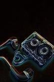 Κασέτα ήχου έννοιας σε έναν μπλε βράχο Στοκ Εικόνες
