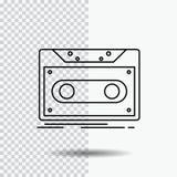 Κασέτα, επίδειξη, αρχείο, ταινία, εικονίδιο γραμμών αρχείων στο διαφανές υπόβαθρο Μαύρη διανυσματική απεικόνιση εικονιδίων ελεύθερη απεικόνιση δικαιώματος
