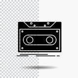 Κασέτα, επίδειξη, αρχείο, ταινία, εικονίδιο Glyph αρχείων στο διαφανές υπόβαθρο r απεικόνιση αποθεμάτων