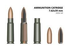 Κασέτα, σφαίρα, κασέτα, καλάζνικοφ, σύνολο, 7 62 ελεύθερη απεικόνιση δικαιώματος