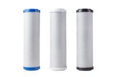 Κασέτες για το φίλτρο νερού που απομονώνεται στο λευκό Στοκ Εικόνες