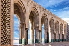Κασαμπλάνκα Μαρόκο Μουσουλμανικό τέμενος Χασάν ΙΙ στοά arcade Στοκ εικόνες με δικαίωμα ελεύθερης χρήσης