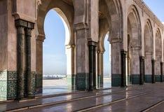 Κασαμπλάνκα Μαρόκο Μουσουλμανικό τέμενος Χασάν ΙΙ στοά arcade Στοκ εικόνα με δικαίωμα ελεύθερης χρήσης
