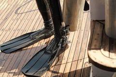 κατάδυση Πόδια στο μαύρο λάστιχο wetsuit και τα βατραχοπέδιλα στοκ εικόνα με δικαίωμα ελεύθερης χρήσης