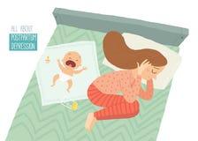 κατάθλιψη μετά τον τοκετό Μεταγεννητική κατάθλιψη Μπλε μωρών s Διανυσματική συρμένη χέρι eps 10 κινούμενων σχεδίων απεικόνιση που απεικόνιση αποθεμάτων