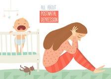 κατάθλιψη μετά τον τοκετό Μεταγεννητική κατάθλιψη Μπλε μωρών s Διανυσματική συρμένη χέρι eps 10 κινούμενων σχεδίων απεικόνιση που διανυσματική απεικόνιση