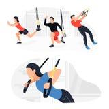 Κατάλληλοι άνθρωποι που επιλύουν στο trx που κάνει bodyweight τις ασκήσεις Δύναμη ικανότητας που εκπαιδεύει workout διανυσματική απεικόνιση